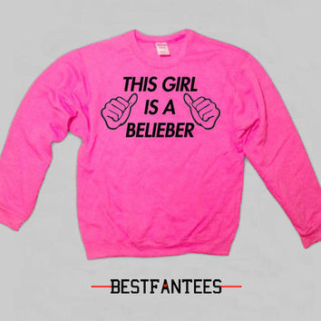 This Girl Loves One Direction Bright Pink Crewneck Sweatshirt 1d 017