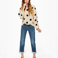 Beige Polka Dot Knit Sweater