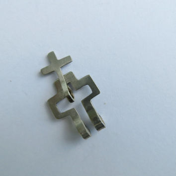 Two small silver crosses pendants which a cross are together - necklace for men dudes and women - OOAK engagement