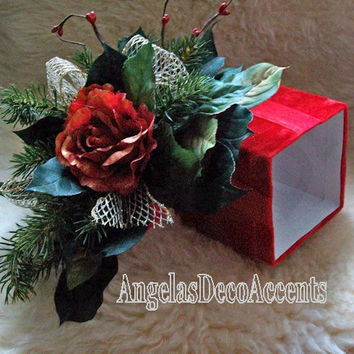 Silk Floral Arrangement, Gift Box Duo, Winter Holiday Decor, Traditional Style, Dual Purpose, Red Gold Roses, Flowers, Faux Evergreens,113 A