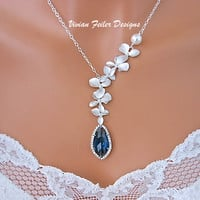 Blue Wedding Jewelry Necklace Orchid Flower Sapphire Blue CZ Pro - Vivian Feiler Designs | Wedding