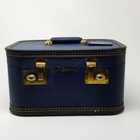 Vintage Lady Baltimore Navy Blue Train Case