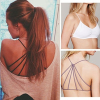 Sexy Women Summer Bralette Cross Strappy Caged Cut Out Bra Bralet Crop Top = 1928610692
