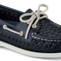 Sperry Top-Sider Authentic Original 2-Eye Woven Boat Shoe NavyWoven, Size 8M  Women's Shoes