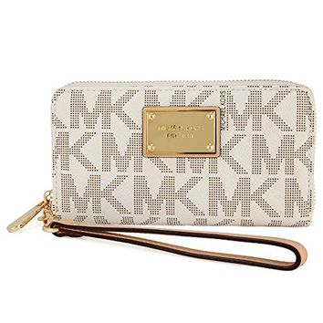 Michael Kors 32T4GTTE9B-150 Women's Jet Set Logo Large Vanilla PVC Phone Case