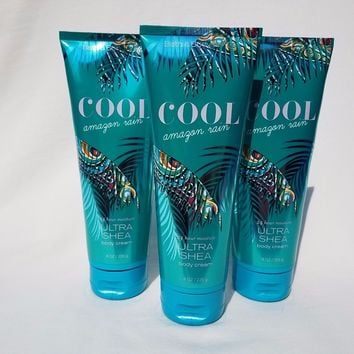 3 PACK Bath & Body Works COOL AMAZON RAIN Body Cream 8 oz