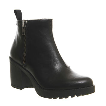 Vagabond Grace Side Zip Boots Black Leather - Ankle Boots