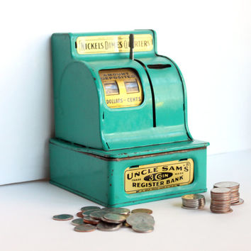 Vintage 1950s Uncle Sam's 3 Coin Register Bank in Turquoise | Retro Mid Century Toy, Nostalgia, Americana