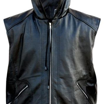 Black Hooded Fashion Premium Genuine Real Leather Vest w/ Hood Quilted Lining