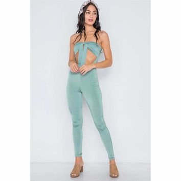 Front Tie Cut Out Skinny Leg Jumpsuit