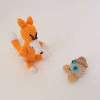 Fox Toy With Kolobok (toy, decoration) baby toy Or hanging decoration Crochet Stuffed Animal From Russian Fairy tale 2pcs
