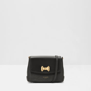 Bow detail leather cross body bag - Black | Bags | Ted Baker
