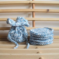 Crochet Soap Saver and Face Scrubbies Set in Blue and White Cotton, MADE TO ORDER.