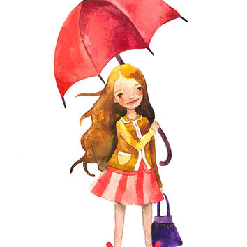 Rainy Day Children Watercolor Print Illustration Girl Umbrella Autumn