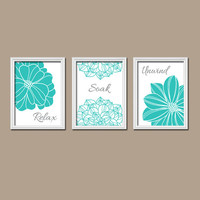 Shower Curtain Bathroom Wall Art Canvas Artwork Turquoise White Flower Set of 3 Trio Prints  Decor Relax Soak Unwind Quote  Bath Match Three