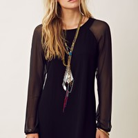 Twelfth Streeth By Cynthia Vincent Sheer Sleeve Shift Dress