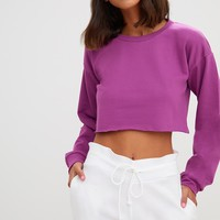 Violet Cut Off Crop Longsleeve Sweater