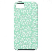 Chic stylish ornate mint green damask pattern iPhone 5 cases from Zazzle.com
