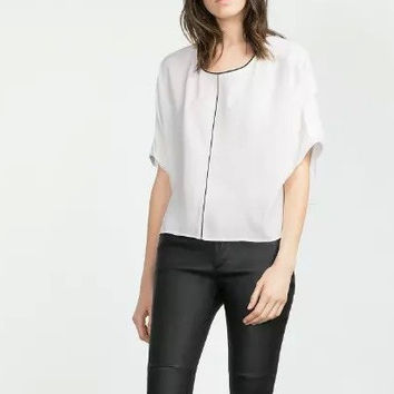 Linen Zipper Back Short-Sleeve Chiffon Blouse