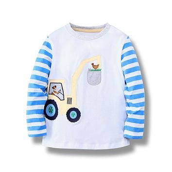 Baby Boys T shirts Children Clothing Striped Kids T shirt for Boys Clothes Character Toddler Boys Long Sleeve Tops