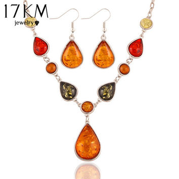 17KM New Brand Design Fashion Charm Droplets gem Natural stone Synthetic amber Necklace earrings jewelry sets for women