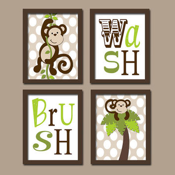 Monkey Boy Set of 4 Whimsical Wash Brush Polka Dot WALL ART Decor Picture Child Bathroom Shower Curtain Match
