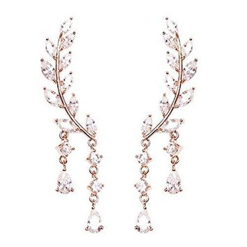 Sweep Wrap Crystal Rose Gold Plated Leaf Ear Cuffs Set Stud Earrings