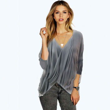 Gray Long Sleeve V-Neck Large Size Blouse