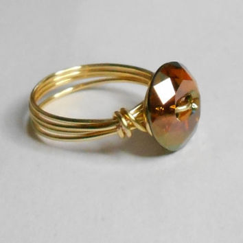 Swarovski Crystal Gold Wire Wrapped Ring Ring Sizes 1-14