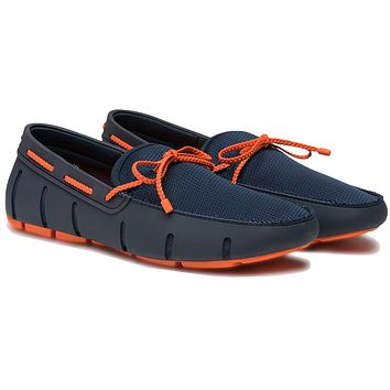 Men's Water Resistant Braided Lace Loafer in Navy & Orange by SWIMS