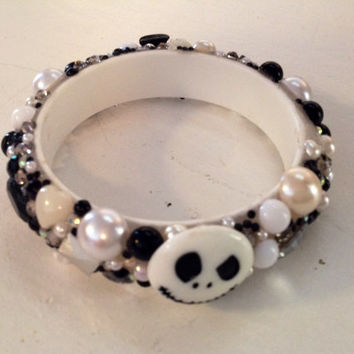 Jack Skellington Bangle Bracelet, Nightmare Before Christmas Jewelry, Jack Bracelet, Black and White Bracelet, Kawaii Jack Skellington, Jack