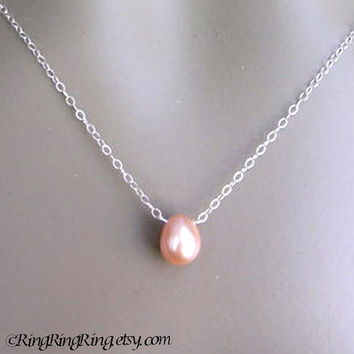 Large Natural Cream Rose Genuine Pearl on 925 Sterling silver necklace.