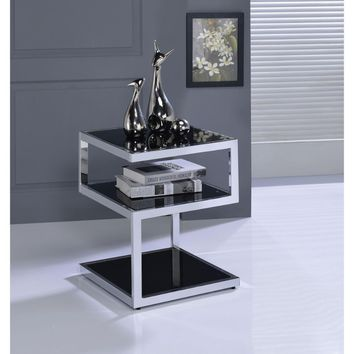 Alyea End Table, Black Glass & Chrome
