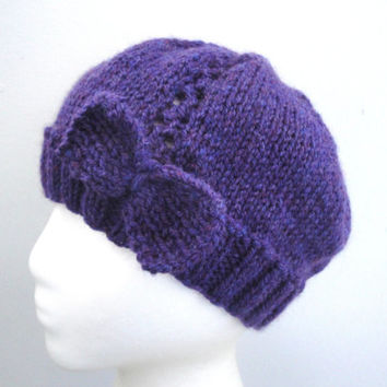 Purple Bow Hat, Women and Teen Girls, Cloche Beanie, Chic, Hand Knit, Valentines Day Gift