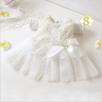 Fashion Summer Spring Toddler Girls Baby Kids Bebe Dress Princess Party Cute Newborn Wedding Big Bow Lace Dress Clothing