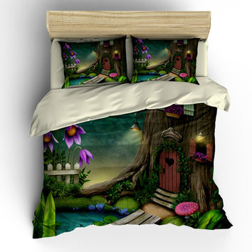 Bedding-Hobbit Fairy Forest Bedding, Duvet Cover Set . Pillow Shams , Comforter Cover