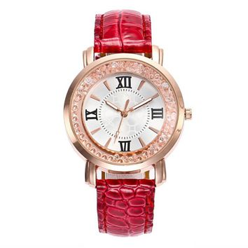 Fashion Quartz Women Watch Rhinestone Leather Casual Dress Watches Rose Gold Ladies clock relogio feminino montre femme