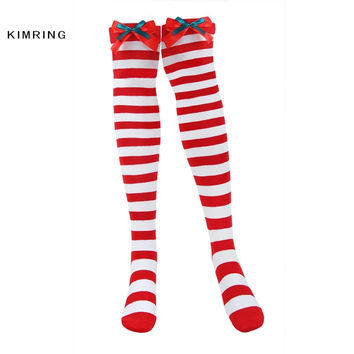 KIMRING SEXY WOMEN COTTON STOCKINGS STRIPED WARM THE KNEE HIGH SOCKS STOCKINGS TIGHTS WITH DOUBLE BOWS LONG CHRISTMAS STOCKINGS