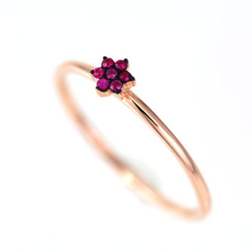 Star Ring / Solid 14k gold with Genuine Natural Ruby Star Ring