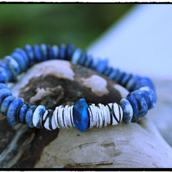 Sodalite Smooth Rondelle and Blue Hammered Chalcedony with Silver Plated Discs and Tribal Carved Bone Beads, Bohemian Hippie Chic