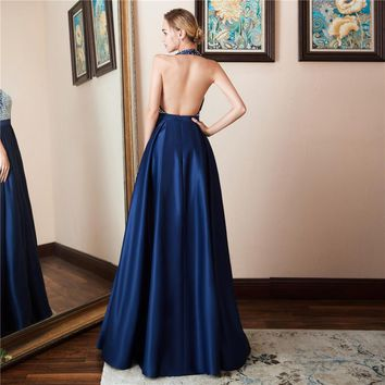 Fashion Sexy Satin Halter Backless A Line Long Evening Dresses Sleeveless Beading Floor Length Evening Dress