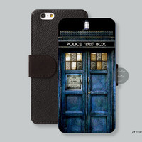 Police box iPhoen 6 case Leather Wallet - Christmas gift iPhone 6 plus case Wallet iPhone 5s case, iPhone 5c case phone cover - C00010