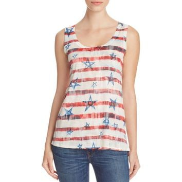 Nally & Millie Womens American Flag Burnout Printed Tank Top