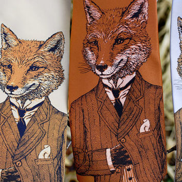 Fox Tie - Dapper Fox Necktie - Men's Necktie
