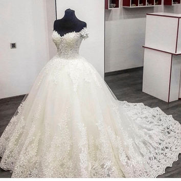Real Photo Ball Gown Wedding Dresses Gowns Swetheart Cap Sleeve Beaded Lace Ivory Wedding Dress Long Train robe de mariage