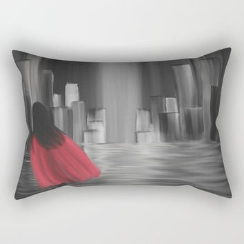 Girl With A Red Cape Rectangular Pillow by Alisha Smith