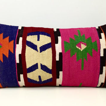 "Kilim pillow, 12X24"" Rug Cushion, Rustic Throw pillows, Kelim Kussen, Kilim pillow, Bohemian Vintage pillow, Ethnic Pillow, Rug Pillow Cover"