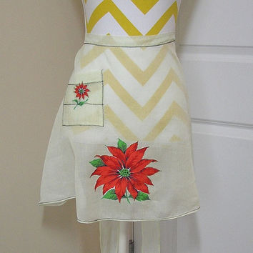 Vintage Dainty Yellow Sheer Kitchen Apron with Christmas Poinsettia Appliques & Black Zig-Zag Trim, Circa 1960s, ~~by Victorian Wardrobe