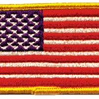American Flag Iron-On Patch Gold Trim