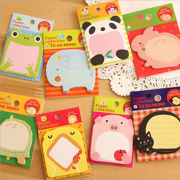 1 Piece Lytwtw's New Korean DIY Kawaii Animal Sticky Notes Creative Post Notepad Filofax Memo Pads Office School Stationery